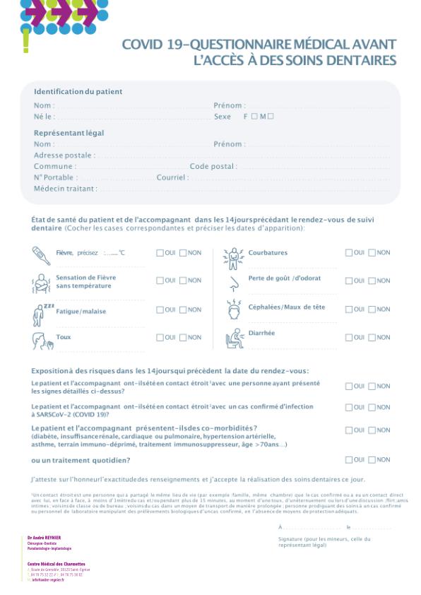 formulaire dépistage covid-19 cabinet dentaire reynier dentiste à St-egreve